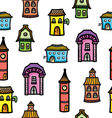 Pattern with cute cartoon colorful houses vector image vector image