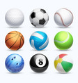 realistic sports balls set vector image