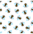 seamless pattern with cartoon bee on white vector image