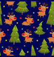 seamless pattern with cartoon reindeers vector image