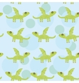Seamless pattern with funny cute dragon on a blue vector image
