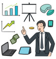 set businessman and business icon vector image vector image