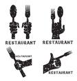 set grunge vintage emblems restaurant vector image vector image