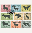 set of postage stamps with animals and birds vector image
