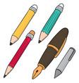 set pen and pencil vector image vector image
