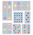 set pills tablets and capsules in blisters vector image vector image