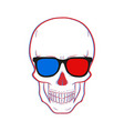 skull with 3d glasses vector image vector image