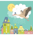 Stork is flying in the sky vector image vector image