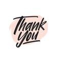 thank you handwritten black ink lettering vector image