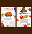 thanksgiving day sketch holiday posters vector image