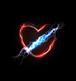 thunderbolt in heart love and feelings associated vector image