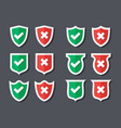 tick and cross shields vector image