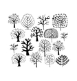 Trees collection sketch foryour design vector image vector image