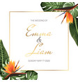 tropical exotic wedding event invitation card vector image vector image