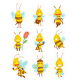 various cartoon bees insects character happy vector image vector image