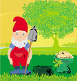 cute dwarf with pot of gold coin vector image