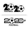 2020 with soccer ball icon flat vector image vector image