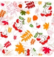 A seamless leaf and rowanberrys pattern background vector image vector image