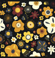 autumn flowers seamless pattern background vector image