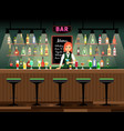bar counter with bartender lady vector image vector image