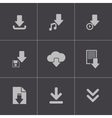 black download icons set vector image