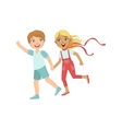 Boy And Girl Running Outside Holding Hands vector image vector image