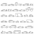 car and motorcycle type icons set title models vector image
