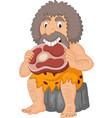 cartoon caveman eating meat vector image vector image