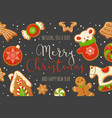 cartoon gingerbread cookies for celebration design vector image vector image