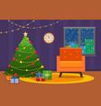 christmas room interior christmas tree wih vector image vector image