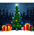 christmas tree with gifts on snow in the winter vector image