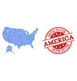 collage map of usa and alaska with linked circles vector image vector image