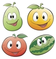 cute cartoon fruits vector image vector image