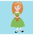 cute cartoon little girl with orange hair wearing vector image vector image