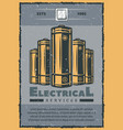 electrical service retro card of electric supplies vector image vector image