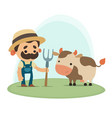 farmer with cow vector image vector image