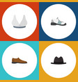 flat icon clothes set of panama sneakers vector image vector image