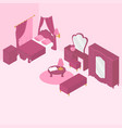 flat isometric bedroom interior furniture vector image