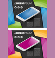 Flayer template with isometric mobile phone vector image