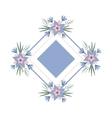 floral vignette in form a rhombus vector image vector image