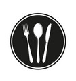 food logo fork spoon knife dish frame background v vector image vector image