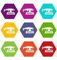 fret saw icon set color hexahedron vector image vector image