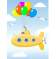 funny yellow submarine in the sky vector image