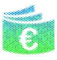 halftone blue-green euro checkbook icon vector image vector image