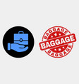 hand offer case icon and grunge baggage vector image vector image