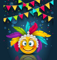 happy carnival festive banner smile emoji with vector image