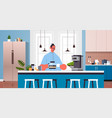 happy man drinking coffee guy relaxing at home vector image vector image