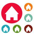 home icons circle set vector image