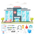 hospital building with ambulance car vector image vector image