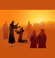 jesus heals blind man vector image vector image